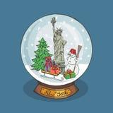 New york Christmas Snow globe.Doodle landmark Stock Image