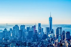 New York Ci ty Manhattan midtown aerial panorama view with skyscr Royalty Free Stock Photo