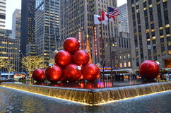 NEW YORK CIGiant Christmas Ornaments in Midtown Manhattan on December 17, 2013, New York City, USA. Stock Photography