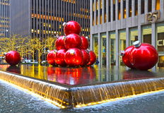 NEW YORK CIGiant Christmas Ornaments in Midtown Manhattan on December 17, 2013, New York City, USA. Royalty Free Stock Photo