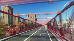 Timelapse View Pedestrian Sidewalk on Williamsburg Bridge. NEW YORK - Circa August, 2016 - A time lapse perspective view as seen while on the pedestrian sidewalk stock footage