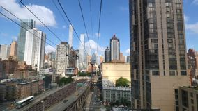 Passenger`s Forward Perspective Riding Roosevelt Tramway. NEW YORK - Circa July, 2016 - A passenger`s forward perspective riding the Roosevelt Tramway to stock video footage