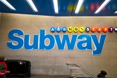 New York City subway. NEW YORK - CIRCA MARCH 2016: entryway to subway at New York City. The City of New York, often called New York City or simply New York, is stock photo