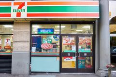 7-Eleven. NEW YORK - CIRCA MARCH 2016: exterior of 7-Eleven shop. 7-Eleven (7-11) is an international chain of convenience stores, headquartered in the American Royalty Free Stock Photos