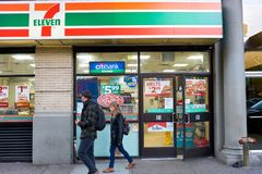 7-Eleven. NEW YORK - CIRCA MARCH 2016: exterior of 7-Eleven shop. 7-Eleven (7-11) is an international chain of convenience stores, headquartered in the American Royalty Free Stock Images