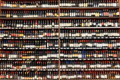 Wine store. NEW YORK - CIRCA MARCH 2016: inside of Epic Spirits store in Manhatten. A liquor store is a retail shop that sells prepackaged alcoholic beverages Stock Photos