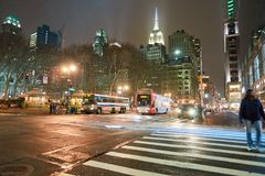 New York City at night. NEW YORK - CIRCA MARCH 2016: New York City at night. The City of New York, often called New York City or simply New York, is the most stock photo