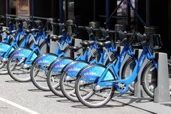 New York Citibike. NEW YORK, USA - JULY 4, 2013: Citibike bicycle rental station in New York. With 330 stations and 6,000 bicycles it is one of top 10 bike Stock Images