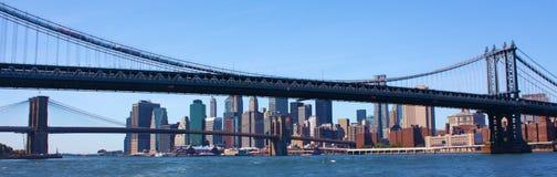 New York City überbrückt Panorama Lizenzfreies Stockbild