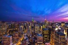 New York City на сумраке Стоковая Фотография RF