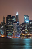 New York City. Manhattan skyline over Hudson River at night stock photos
