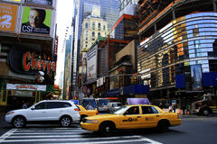 New York City. Traffic in New York City looking up 42nd St. Chevy's Restaurant is on the corner royalty free stock photos