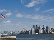 NEW YORK CITY. Skyline and Liberty Island royalty free stock photography