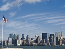 New York City. Skyline and Liberty Island royalty free stock photos