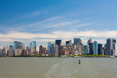 New York city. Downtown Manhattan city skyline viewed from tour boat Royalty Free Stock Image
