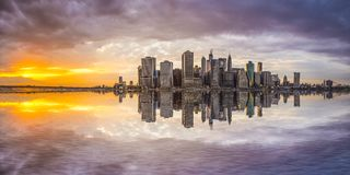 New York City. Financial District in Lower Manhattan from across the East River Stock Photography