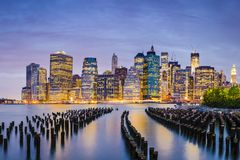 New York City. Financial District in Lower Manhattan from across the East River Stock Image