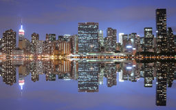 New York City. And reflection at night Stock Photo