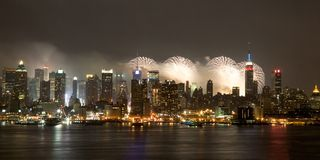 New York City - 4th of July Fireworks. Fireworks above Manhattan Stock Images