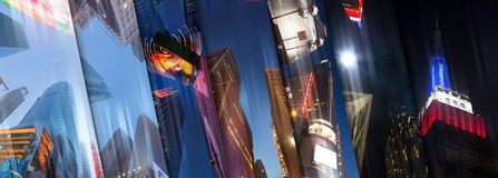 New York City accende la vista del cielo del collage Fotografie Stock