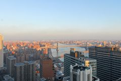 New York City Skyline. New York City aerial East River view from the Financial District Royalty Free Stock Photo