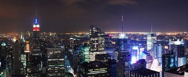 New York City Aerial night scene panorama Royalty Free Stock Image