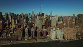 New York City Aerial. V46 Low flying panning right with view of Midtown East Manhattan cityscape stock video