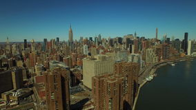 New York City Aerial. V51 Panning left with view of Midtown Manhattan cityscape stock video