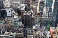 New York City aerial view. Manhattan roofs stock image