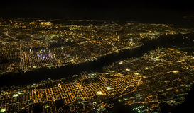 New York City aerial view in the night Stock Photography