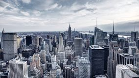 New York City Aerial View Panorama. Panorama of New York City in Midtown Manhattan. Low color saturation Stock Photos