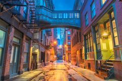 New York City Alleyways. Alley in the Tribeca neighborhood in New York City Royalty Free Stock Image