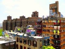 New york city apartment buildings graffiti. Apartment buildings with graffiti paint on them in new york city united states Royalty Free Stock Image