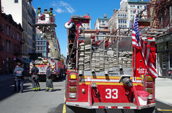 NEW YORK CITY- April 8: FDNY Training with Tower Ladder 9 on Great Jones Street, NYC. April 8, 2017. Stock Photography