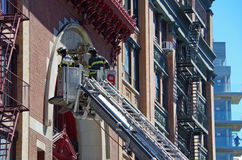 NEW YORK CITY- April 8: FDNY Training with Tower Ladder 9 on Great Jones Street, NYC. April 8, 2017. Royalty Free Stock Photos