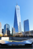 NEW YORK CITY - APRIL 17: NYC's 9/11 Memorial at World Trade Cen. Ter Ground Zero seen on April 17, 2016. The memorial was dedicated on the 10th anniversary of stock image