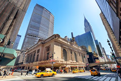 NEW YORK CITY - APRIL 14, 2016: Rush of pedestrians outside hist stock photo