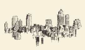 New York City Architecture, Engraved Illustration Stock Images