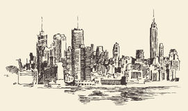 New York City Architecture, Engraved Illustration Stock Image