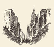 New York city architecture, engraved illustration Stock Photos