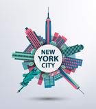 New York city architecture retro vector Stock Images