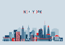 New York City Architecture Vector Illustration. Skyline city silhouette skyscraper flat design