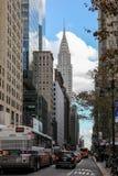 New York City arkitektur med Chrysler byggnad Fotografering för Bildbyråer