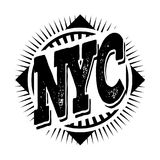 New York city art. Street graphic style NYC. Fashion stylish pri. Nt. Template apparel, card, label, poster. emblem, t-shirt stamp graphics. Handwritten banner Stock Photos