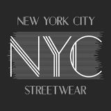 New York city art. Street graphic style NYC. Fashion stylish print. Template apparel, card, label, poster. emblem, t-shirt stamp Stock Photography