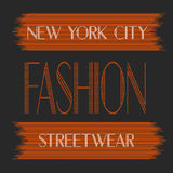 New York city art. Street graphic style NYC. Fashion stylish print. Template apparel, card, label, poster. emblem, t-shirt stamp. Royalty Free Stock Image