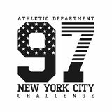 New York City, athletic department, american flag t-shirt design, typography for t-shirt graphics. Vector Stock Image