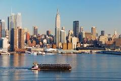 New York City au-dessus de fleuve de Hudson Photographie stock libre de droits