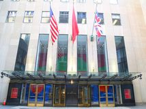 Christie`s main headquarters at Rockefeller Plaza in New York. NEW YORK CITY - AUGUST 8, 2018: Christie`s main headquarters at Rockefeller Plaza in New York royalty free stock photography