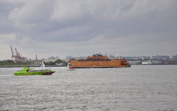 New York City,August 2nd:Cruise Ship son Hudson river on a dramatic sky from New York City royalty free stock photography